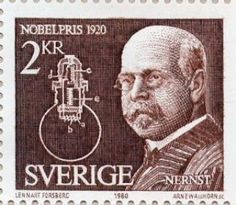 Stamp: Nobel Prize in Chemistry 1920 - Walther Hermann Nernst (Sweden) (Nobel Prize Winners Mi:SE Nobel Prize In Chemistry, Nobel Prize Winners, Calculus, Stamp Collecting, My Stamp, Postage Stamps, Famous People, Literature, Vikings