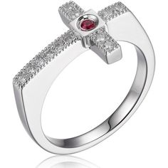 ELLE Jewelry - HUMANITY Sterling Silver Micro Pave CZ Cross Ring... (105 AUD) ❤ liked on Polyvore featuring jewelry, rings, sterling silver pave ring, side cross ring, cross ring, sterling silver jewelry and cz jewellery