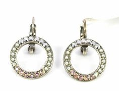 Mariana Jewelry - Beautiful pink & clear Swarovski crystal lever back earrings hand made in Israel. #Mariana Jewelry #Gemstone #Swarovski #Earings #BluRoxx