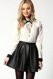 Liz Wet Look Scuba Box Pleat Skater Skirt