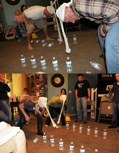 I couldn't find a description of this game, but it looks like hose with a softball in the bottom, hanging from their heads, and you try and knock over full water bottles. Looks simple, we could use black hose to make it more in theme.