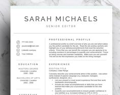Teacher Resume Template For Word And Pages  Educator Resume