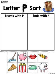 Alphabet letter sounds practice is super fun with these picture word sorts worksheets where kids sort words by whether they start with or end with the letter sound                                                                                                                                                                                 More