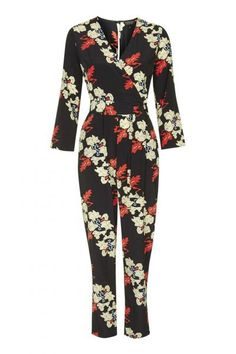 Topshop Iris Print Wrap Jumpsuit