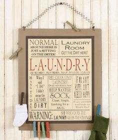 Country-Laundry-Room-Sign-Metal-Wood-Wall-Art-Decor-Magnetic-Clothespins