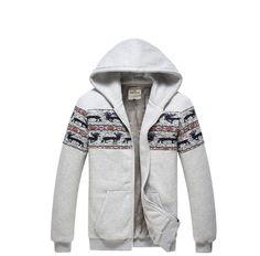 Spring Slim Deer Pattern Hoody Jacket Grey