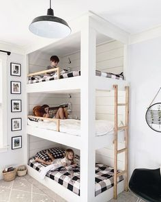 Kids Room Design, Bed Design, Modern Bunk Beds, Simple Interior, Interior Design, White Rooms, Frame It, Modern House Design, Boy Room
