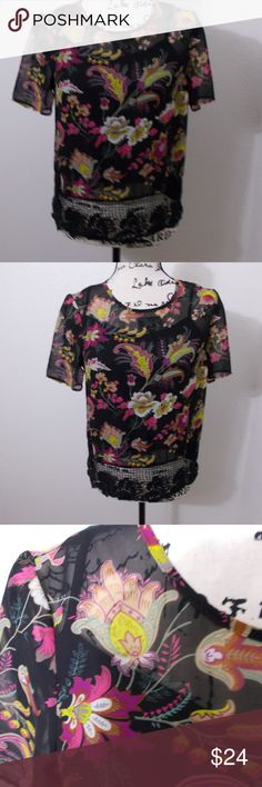 "sz XS - Daniel Rainn two piece black floral blouse Daniel Rainn black 2-piece tank/blouse. solid black tank under sheer floral blouse. crochet detail at hem. hand wash only.   Size XS - 16"" pit to pit, 24"" length  See photos for details. Smoke free, pet friendly home.   Please message me with any questions. Ask if additional size detail is needed.   15% discount for 3+ item bundles. Check out my closet. Happy Poshing!  591/CT Daniel Rainn Tops Blouses"