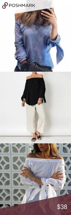 """New Arrival ! Off Shoulders!! 2017 Spring Trend! Striped Blouse with Sexy Bow-knot. Off Shoulder ! Only available as seen in first picture! Large; 40"""" bust, 18.5"""" shoulders, 23.6"""" in length. Medium; 37"""" bust, 17.5"""" shoulders, 23.2"""" in length. Medium size also could fit a S. Large size could fit a M size. Tops Blouses"""