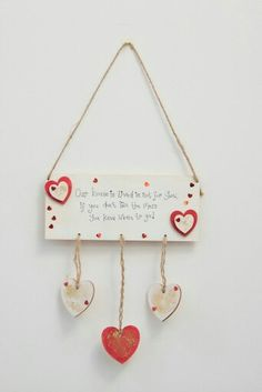 Www.handcraftedbyme.eu 3 heart Plaque .....Our house Place Cards, Place Card Holders, Heart, House, Ideas, Self, Home, Thoughts, Homes