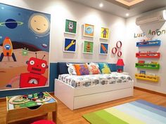 15 out of this world Robot Room Ideas sure to inspire! Everything from vintage robot to modern robot room ideas for kids. Robot playroom ideas for kids. Boy Toddler Bedroom, Big Boy Bedrooms, Toddler Rooms, Kids Rooms, Boys Bedroom Ideas Toddler Small, Ideas For Boys Bedrooms, Childrens Bedrooms Boys, Toddler Room Decor, Child Room