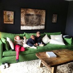 Love this huge green sofa.. The Castle Mood Board