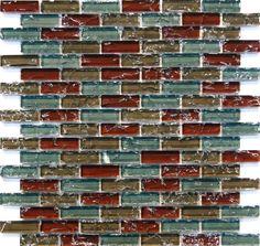 Sample- Natural Red Blue Crackle Glass Mosaic Tile Kitchen Backsplash Bath Wall