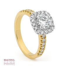 Engagement Ring with 1.85 Carat TDW of Diamonds in 18ct While & Yellow Gold – 1843021
