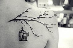 "Love this! want a cherry blossom branch with the bird cage & bird flying away, with the quote ""live free"" <3"