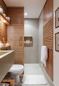 Dicas para banheiro pequeno: Uso de mesmo revestimento em piso e paredes proporcionam amplitude Bathroom Images, Bathroom Design Small, Bathroom Interior Design, Interior Exterior, Home Room Design, House Design, Teal Bathroom Decor, Berlin Apartment, Rooms Home Decor
