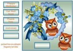 Owl Couple on Craftsuprint designed by Gail Collins - a cute card with owls and…
