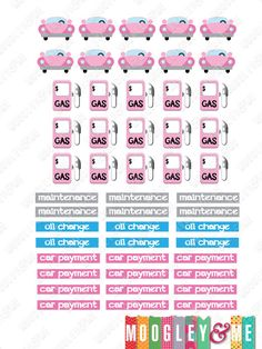 Car Maintenance Planner Stickers for your Horizontal or Vertical Erin Condren Life Planner, Happy Planner, or any planner! by MoogleyandMe on Etsy