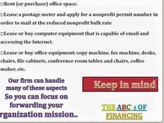 Check list for non profits brought to you my The ABC's of Financing