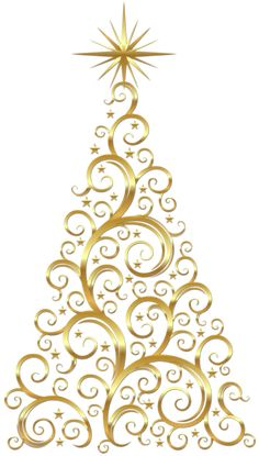 Transparent Gold Deco Christmas Tree Clipart. - I could draw this in the kitchen on my Chalkboard wall