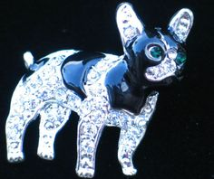 BLACK BOXER PUG BOSTON TERRIER FRENCH BULLDOG PUPPY DOG PIN BROOCH JEWELRY 1 1/4 #Unbranded