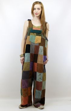 Vintage 90s does 70s Cord Patchwork Hippie Overalls, size L