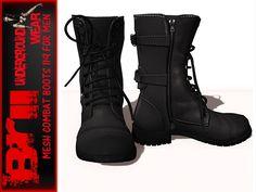 **MESH COMBAT BOOTS FOR MEN 119 BLACK *Brii Underground Wear*