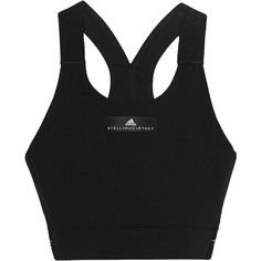 ADIDAS BY STELLA MCCARTNEY The Clmch Bra Black // Pull-on sports-bra ($80) ❤ liked on Polyvore featuring activewear, sports bras, adidas activewear, logo sportswear, sports bra, adidas sports bra and adidas sportswear