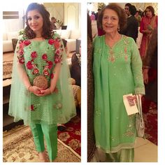 """Summer fresh in #FaridaHasan garden greens! A trendy organza cape and classic embellished #luxepret  @faridahasanonline"""
