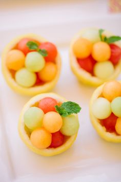 Melon-Filled Citrus Bowls | The TomKat Studio for DIY Network http://www.thetomkatstudio.com/spababyshower/