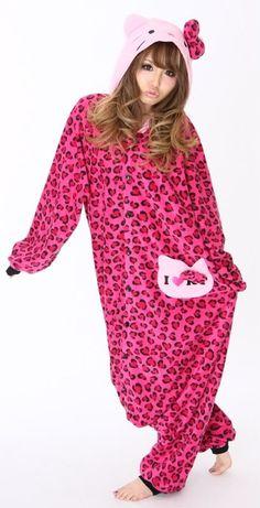 Rose Leopard print Hello Kitty Kigurumi $69.99
