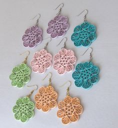Quilling Earrings Fans and Circles by BarbarasBeautys on Etsy
