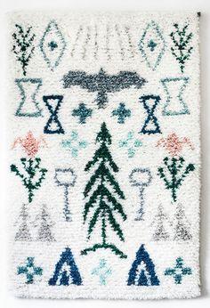 Image of Elonkierto -juliste Rya Rug, Wool Rug, Home Textile, Textile Design, Image Deco, Shaggy Rug, Fabric Rug, Floor Decor, Floor Art