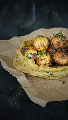 Spice coated baby potatoes