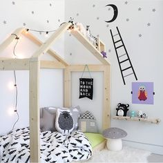 Scandinavian Nursery with house shaped bed frame by www.jujuzozo.com www.pinterest.com/jujuzozokids