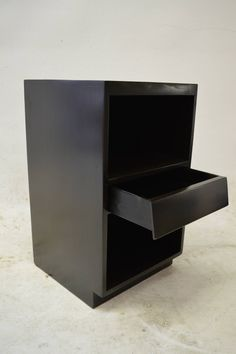 Minimalist Ebonized Night Stand | From a unique collection of antique and modern night stands at https://www.1stdibs.com/furniture/tables/night-stands/