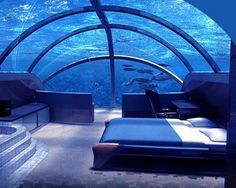 Poseidon Undersea Resort in Fiji - The Poseidon Resorts (Fiji) is certainly one of the most unusual and cool places to sleep. This 5 star hotel is located adjacent to a private Fiji island, at 12 meters deep and it's the first permanent underwater complex in the world. 20  Most Unique Hotel Designs in the World, http://hative.com/most-unique-hotel-designs-in-the-world/,