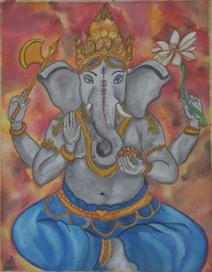 new post watercolor painting of hindu god - Google Search