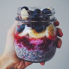Raspberry overnight oats: mix raspberries, raw oats, chia seeds, vanilla powder, milk and leave in the fridge overnight or for a couple of hours - topped with mashed raspberries, banana, blueberries and some more raspberries
