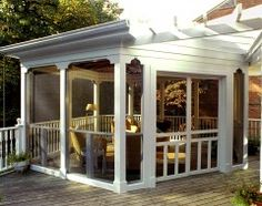 Screened porch, this would work on our deck and I want a screened porch so much!