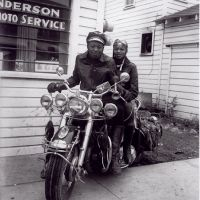 GREENVILLE, MISSISSIPPI  c. 1960.  |  Motorcycle Riders, in front of Henry Clay Anderson Photo Service  |    Henry Clay Anderson ran the Anderson Photo Service in Greenville, Mississippi from the late 1940s to the '60s, and during that time every aspect of African-American life came before his lens. Though highly segregated, Greenville was the site of a thriving middle-class, African-American community—an aspect of American life that is all-too-rarely documented.