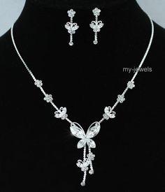 butterfly jelery weddings | Bridal Butterfly Rhinestone Necklace Earrings Set S1077