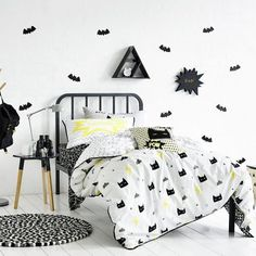Bam! Pow! Your little superhero in training will adore the Kapow quilt cover set from Adairs Kids. Let the fun and excitement at bedtime begin with striking geo shapes, strong superheros and powerful lightning bolts all printed in black and white with pops of bright yellow for a touch of colour. A modern, stylish design that kids will love, this quilt cover set has it all!