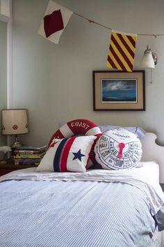 Ticking Stripe Bedding and Nautical Pillows
