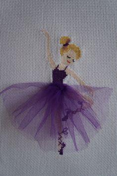 cross stitch ballerina purple