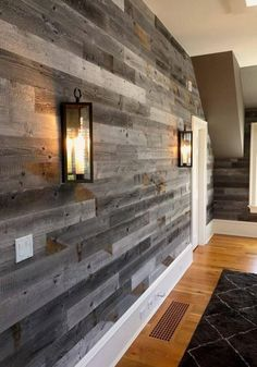 17 Alluring Accent Wall Ideas for Any Room in Your House Gray Reclaimed Barn Wood Wall Panel- Easy Peel and Stick Application Sq Ft, Reclaimed Barn Wood) Plank Walls, Wood Panel Walls, Basement Wall Panels, Painted Basement Ceilings, Painting Basement Walls, Wood Wall Paneling, Basement Wall Colors, Unfinished Basement Walls, Cool Basement Ideas