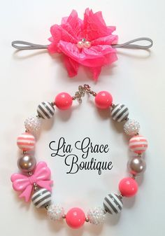 Set of 2 pink, white and gray chunky bead bubble gum necklace with matching headband