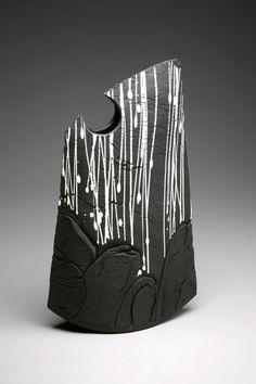 *Hand-Built Stoneware Black Rain on Rock Envelope Form - Matthew Allison
