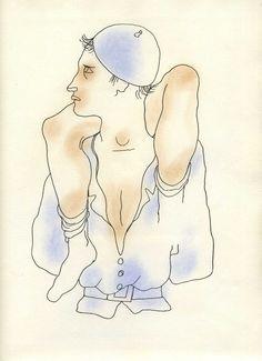 Jean COCTEAU  Beau dessin pour ' Le livre blanc '   Lithographie originale  1930