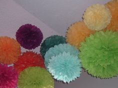 Tissue paper poms * Wedding decorations * Baby shower * Wedding anniversary * Bridal party * Party decorations * Set of 10